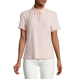Karl Lagerfeld Ruffle Lace Top Pink Small